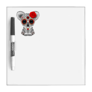 Red Day of the Dead Baby Koala Dry Erase Board