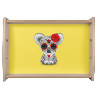 Red Day of the Dead Baby Koala Serving Tray