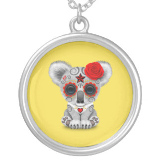 Red Day of the Dead Baby Koala Silver Plated Necklace