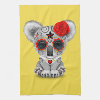 Red Day of the Dead Baby Koala Tea Towel