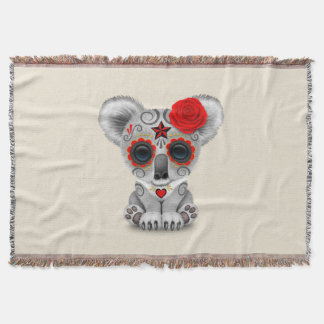 Red Day of the Dead Baby Koala Throw Blanket