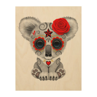 Red Day of the Dead Baby Koala Wood Wall Art