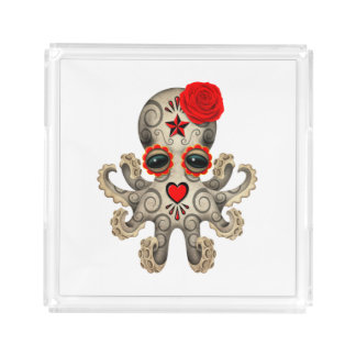 Red Day of the Dead Baby Octopus Acrylic Tray