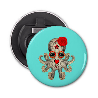 Red Day of the Dead Baby Octopus Bottle Opener