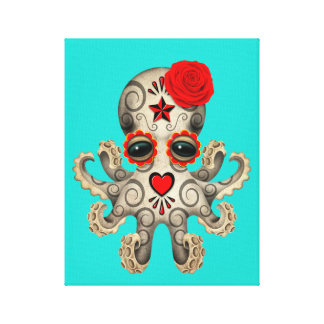 Red Day of the Dead Baby Octopus Canvas Print