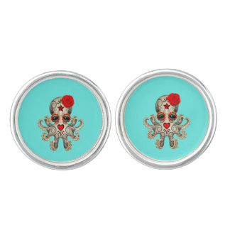 Red Day of the Dead Baby Octopus Cuff Links