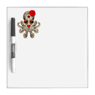 Red Day of the Dead Baby Octopus Dry Erase Board