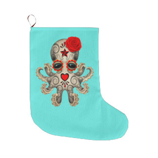 Red Day of the Dead Baby Octopus Large Christmas Stocking