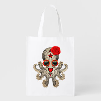 Red Day of the Dead Baby Octopus Reusable Grocery Bag