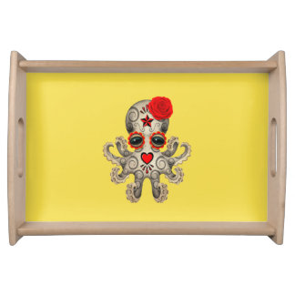 Red Day of the Dead Baby Octopus Serving Tray