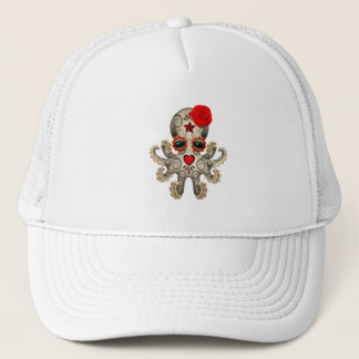 Red Day of the Dead Baby Octopus Trucker Hat