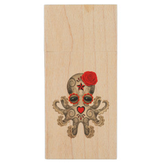 Red Day of the Dead Baby Octopus Wood USB Flash Drive
