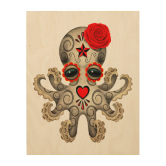 Red Day of the Dead Baby Octopus Wood Wall Art