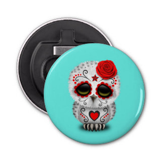 Red Day of the Dead Baby Owl Bottle Opener
