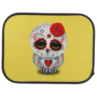 Red Day of the Dead Baby Owl Car Mat