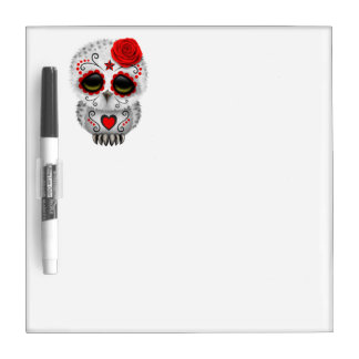 Red Day of the Dead Baby Owl Dry Erase Board