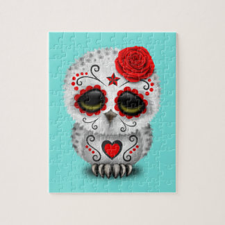 Red Day of the Dead Baby Owl Jigsaw Puzzle
