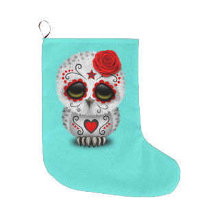 Red Day of the Dead Baby Owl Large Christmas Stocking