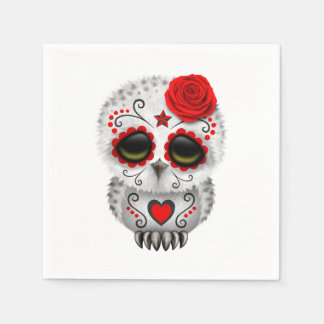 Red Day of the Dead Baby Owl Paper Serviettes