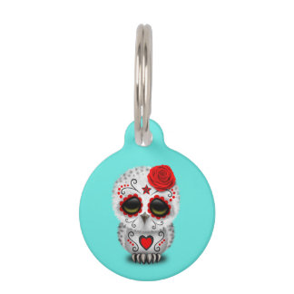 Red Day of the Dead Baby Owl Pet Tag