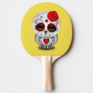 Red Day of the Dead Baby Owl Ping Pong Paddle