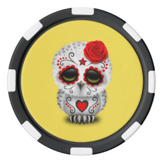 Red Day of the Dead Baby Owl Poker Chips