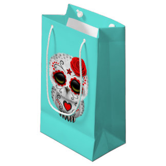 Red Day of the Dead Baby Owl Small Gift Bag
