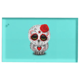 Red Day of the Dead Baby Owl Table Card Holder