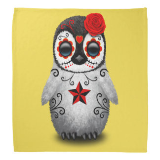 Red Day of the Dead Baby Penguin Bandana