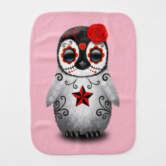 Red Day of the Dead Baby Penguin Burp Cloth