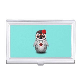 Red Day of the Dead Baby Penguin Business Card Holder
