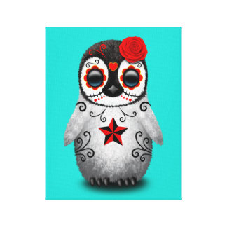 Red Day of the Dead Baby Penguin Canvas Print