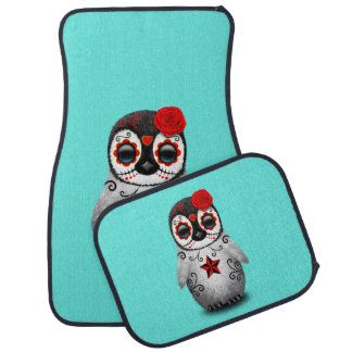 Red Day of the Dead Baby Penguin Car Mat