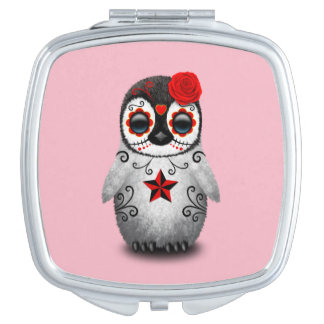 Red Day of the Dead Baby Penguin Compact Mirror
