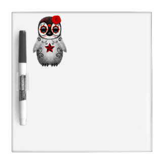 Red Day of the Dead Baby Penguin Dry Erase Board