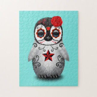 Red Day of the Dead Baby Penguin Jigsaw Puzzle