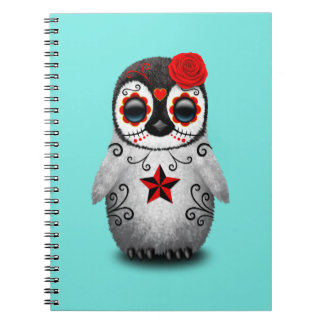 Red Day of the Dead Baby Penguin Notebook