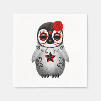 Red Day of the Dead Baby Penguin Paper Napkin