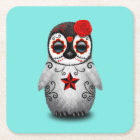 Red Day of the Dead Baby Penguin Square Paper Coaster