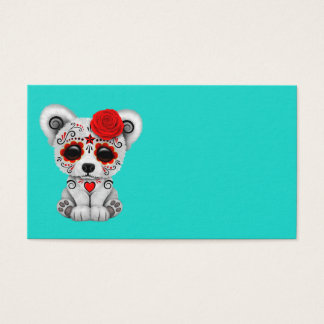 Red Day of the Dead Baby Polar Bear Business Card