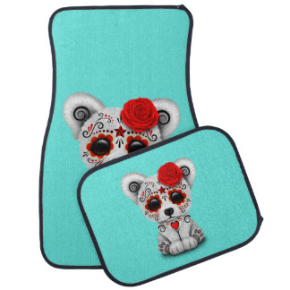 Red Day of the Dead Baby Polar Bear Car Mat