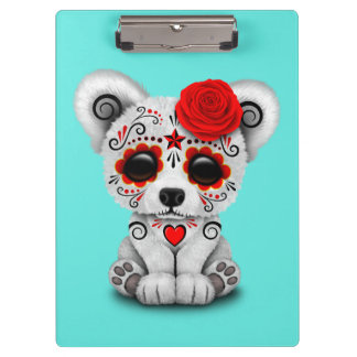 Red Day of the Dead Baby Polar Bear Clipboard