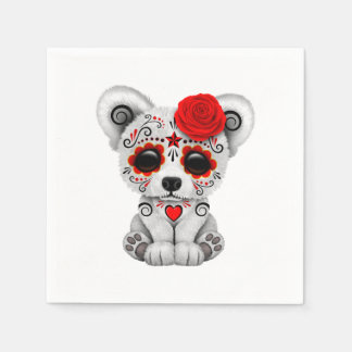 Red Day of the Dead Baby Polar Bear Disposable Napkins