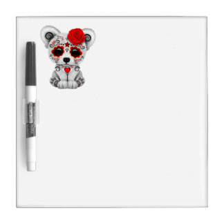 Red Day of the Dead Baby Polar Bear Dry Erase Board