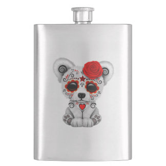 Red Day of the Dead Baby Polar Bear Hip Flask