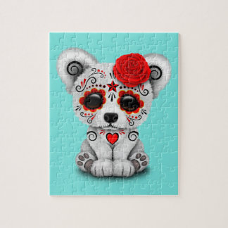 Red Day of the Dead Baby Polar Bear Jigsaw Puzzle