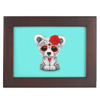 Red Day of the Dead Baby Polar Bear Keepsake Box