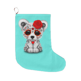 Red Day of the Dead Baby Polar Bear Large Christmas Stocking