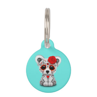 Red Day of the Dead Baby Polar Bear Pet ID Tag