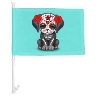 Red Day of the Dead Baby Puppy Dog Car Flag